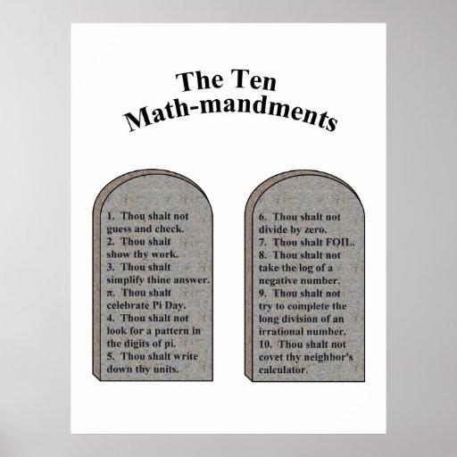 The Ten Math-Mandments Poster