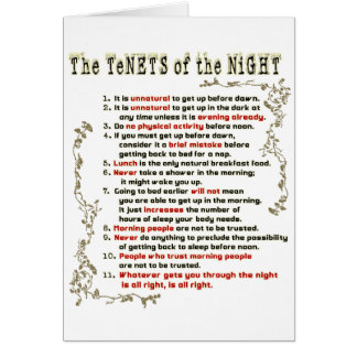 The Tenets of the Night Greeting Cards