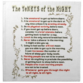 The Tenets of the Night Napkins