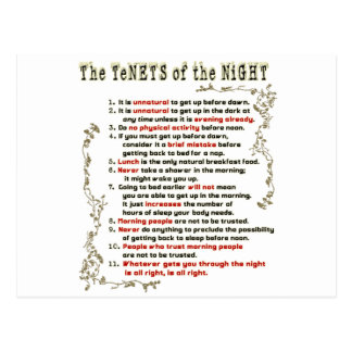 The Tenets of the Night Postcard