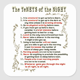 The Tenets of the Night Square Sticker