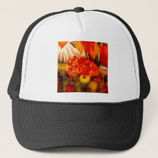 The tennis ball is adorned for Fall. Trucker Hat