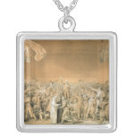 The Tennis Court Oath, 20th June 1789, 1791 2 Square Pendant Necklace