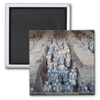 The Terra-cotta Warriors, Xi'an, China 2 Inch Square Magnet