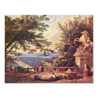 "The Terrace At Marly By Robert Hubert 4.25"" X 5.5"" Invitation Card"