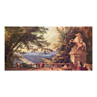 The Terrace At Marly By Robert Hubert Picture Card