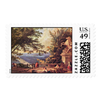 The Terrace At Marly By Robert Hubert Postage Stamp
