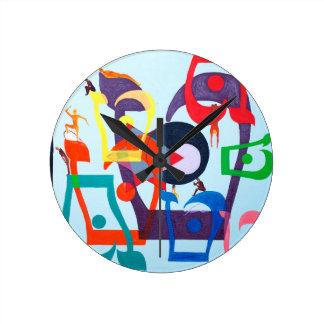 The Teth Letter - hebrew alphabet Round Clocks