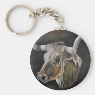 The Texas Longhorn Basic Round Button Keychain