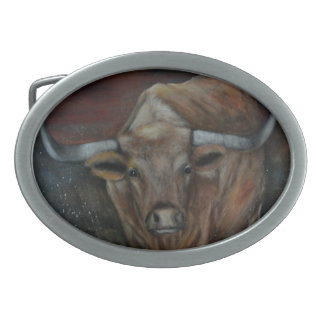 The Texas Longhorn Bull Oval Belt Buckle