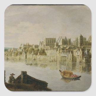 The Thames at Westminster Stairs, c.1630 (oil on p Square Sticker