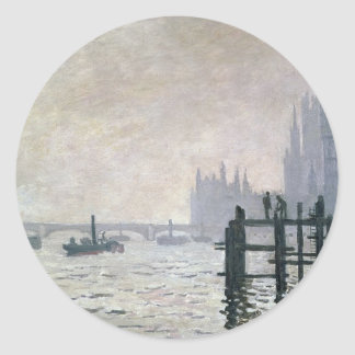 The Thames below Westminster (1871) Classic Round Sticker