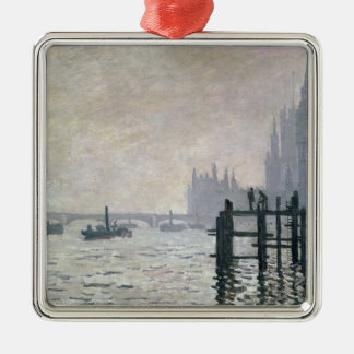 The Thames below Westminster, 1871 Square Metal Christmas Ornament