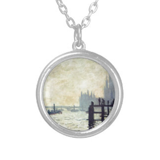 The Thames below Westminster by Claude Monet Round Pendant Necklace