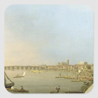 The Thames from the Terrace of Somerset House, loo Square Sticker