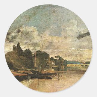 The Thames near Walton Bridges by William Turner Classic Round Sticker