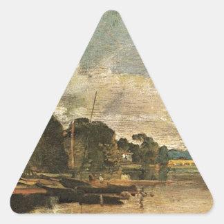 The Thames near Walton Bridges by William Turner Triangle Sticker