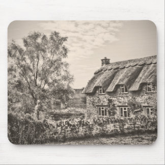 The Thatched Cottage (Vintage B&W) mouse mat Mousepad