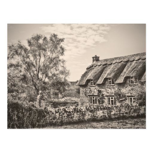 The Thatched Cottage (Vintage B&W) postcard