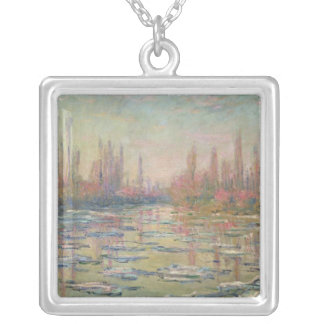 The Thaw on the Seine, near Vetheuil, 1880 Square Pendant Necklace