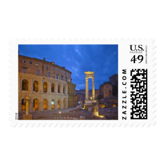 The Theater of Marcellus in Rome at night Postage Stamp