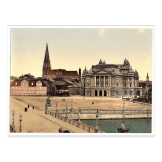 The theatre and cathedral, Schwerin, Mecklenburg-S Postcard
