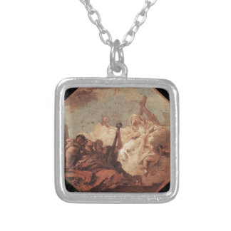 The Theological Virtues Giovanni Battista Tiepolo Square Pendant Necklace