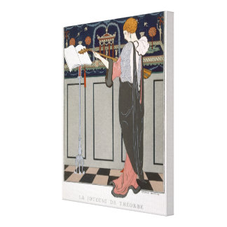 The Theorbo Player, design for an evening coat by Canvas Print
