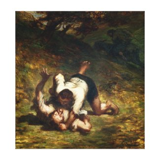 The Thieves and the Donkey, c.1858-60 Stretched Canvas Print