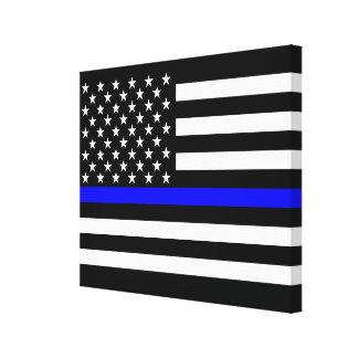 The Thin Blue Line American Flag Decor Canvas Print