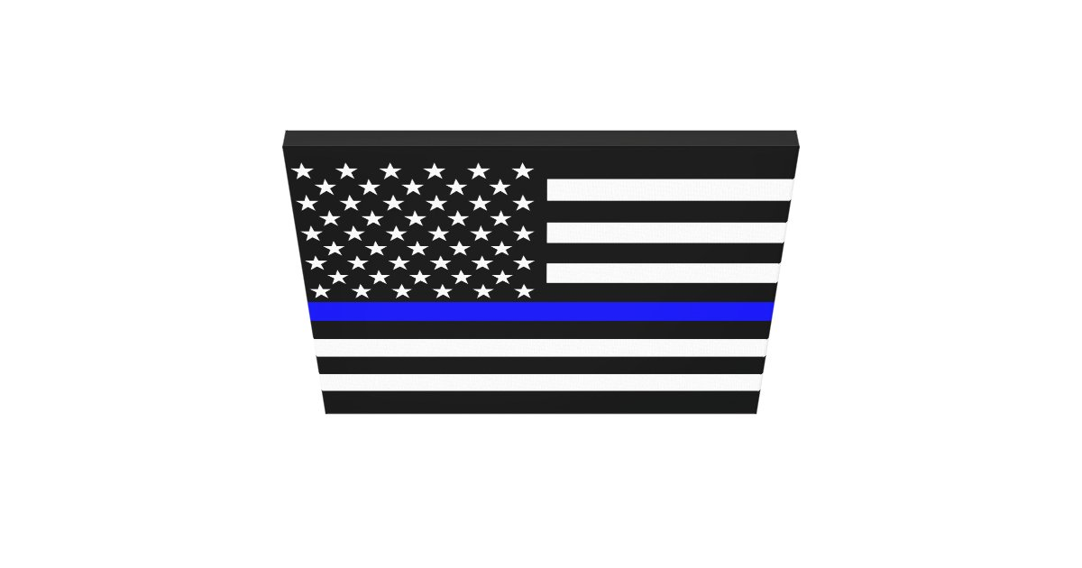 the thin blue line american flag decor canvas print zazzle