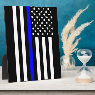 The Thin Blue Line American Flag Plaque