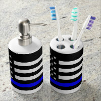 The Thin Blue Line Black and White US flag Soap Dispenser And Toothbrush Holder