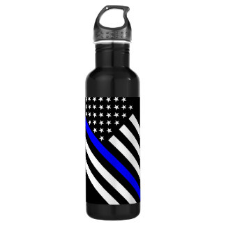 The Thin Blue Line Black and White US flag Water Bottle