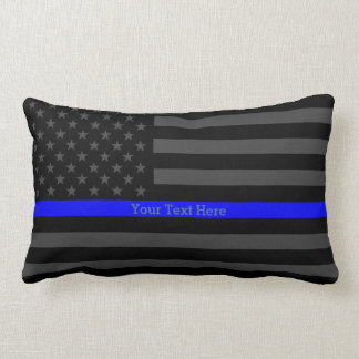 The Thin Blue Line Personalized Text Black US Flag Lumbar Pillow