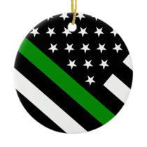 The Thin Green Line Flag Ceramic Ornament