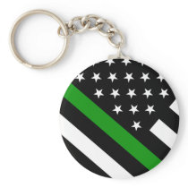 The Thin Green Line Flag Keychain