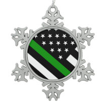 The Thin Green Line Flag Snowflake Pewter Christmas Ornament