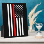 """The Thin Red Line American Flag on a Plaque<br><div class=""""desc"""">The symbolic Thin Red Line on a US flag as a show of support to firefighters and a gift idea for award, graduation, memorial, and remembrance occasions. Use the &quot;Contact this Designer&quot; link to contact us with your special design requests or for some assistance with any of your customization needs....</div>"""