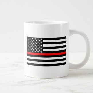 The Thin Red Line Black and White US flag on a Giant Coffee Mug