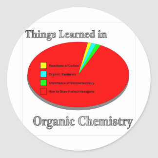 The Things I learned in Organic Chemistry Classic Round Sticker