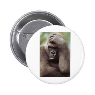 THE THINKER APE 2 INCH ROUND BUTTON