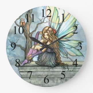 The Thinker Fairy and Owl Fantasy Art Clock