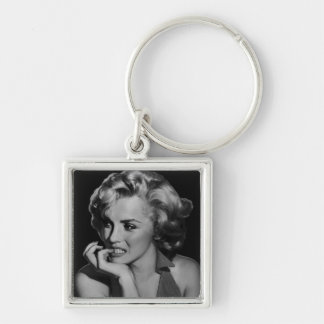 The Thinker Silver-Colored Square Keychain