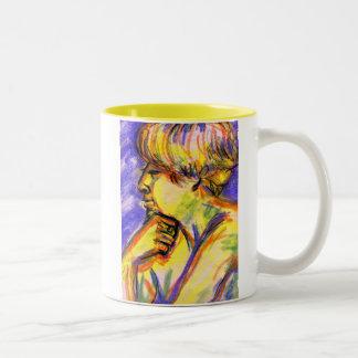 The Thinker & Violet Eyes Two-Tone Coffee Mug