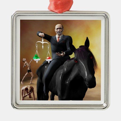 The Third Horseman Square Metal Christmas Ornament