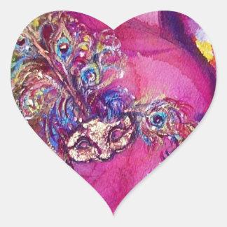 THE THIRD MASK/ Venetian Masquerade Pink Heart Heart Sticker