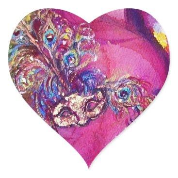 Halloween Themed THE THIRD MASK/ Venetian Masquerade Pink Heart Heart Sticker