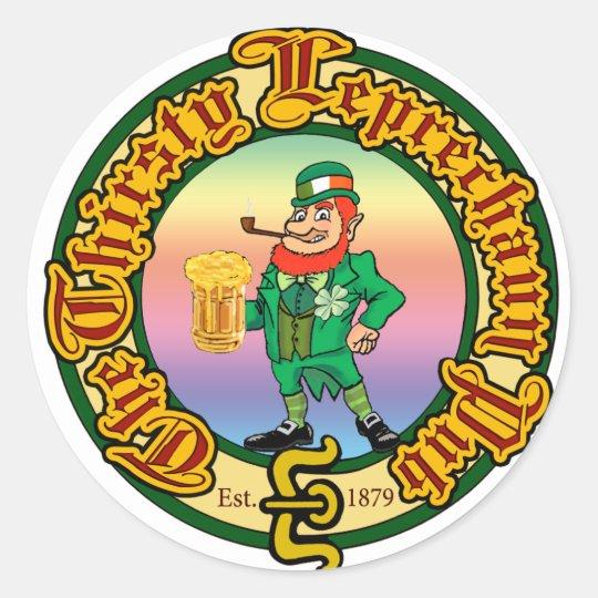 The Thirsty Leprechaun Pub Classic Round Sticker