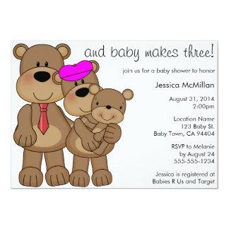The Three Bears Baby Makes Three Baby Shower 5x7 Paper Invitation Card